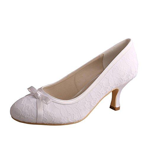 wedopus mw356Satin y Bombas de Encaje, Cerrado en los Dedos de Las Mujeres Mediados talón Bowknots para Vestido de Novia Zapatos, Color Blanco, Talla 39
