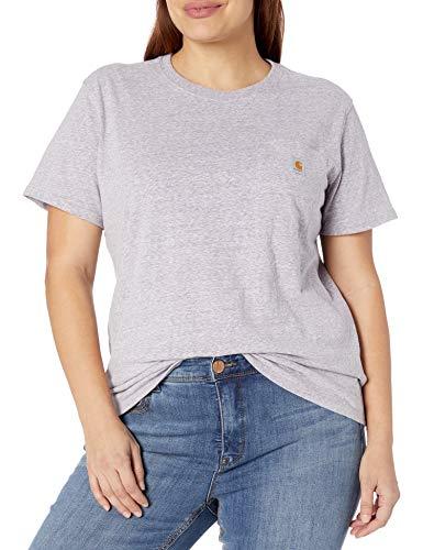 Carhartt Women's K87 Workwear Pocket Short Sleeve T-Shirt (Regular Sizes), Gull Gray Snow Heather, 1X Plus