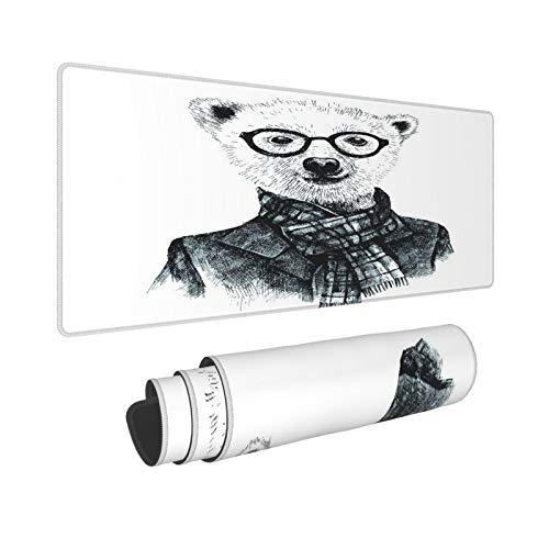 Extra Grande Alfombrilla de Ratn con Bordes Cosidos,XXL-90 x 40 x 0.3cm,Dibujado a mano disfrazado de oso hipster con gafas,Alfombrilla de Escritorio para el Trabajo Juego Computadora Porttil