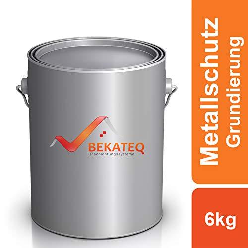 BEKATEQ Metallschutz Grundierung seidenmatt 6kg Grau, LS-120 Rostschutzgrundierung innen aussen, Korrosionsschutz