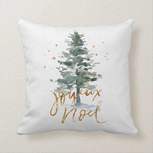 McC538arthy Christmas Quote Throw Pillow Covers, Green Christmas Tree Joyeux Noel Gold Typography Cushion Farmhouse Case Xmas Home Decorations for Sofa Couch 18x18 Inch