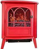 HIGHKAS Equipo para el hogar Estufa eléctrica para Estufa de Fuego Chimenea con Efecto de Llama de leña de leña Realista en 3D y 2 configuraciones de Calor - Stan portátil Gratis