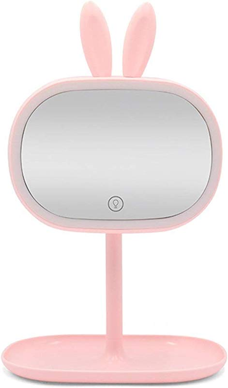 RUIMA Mirror Vanity Mirror With Lamp Desktop LED Light Fill Mirror Vanity Mirror Girl Heart Makeup Lamp Color Pink