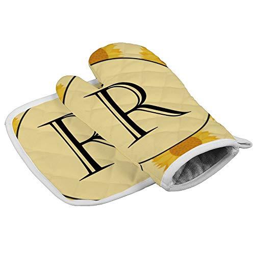 Cirkel Nummer Symbool Geel Professionele Hittebestendige Magnetron BBQ Oven Isolatie Verdikking Katoen Handschoenen Bakken Pot Mitts Zachte Binnenvoering Keuken Koken door Novelty Handschoenen