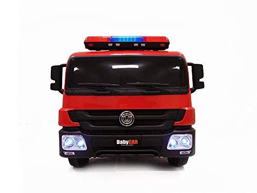 Camion dei Pompieri Elettrico Giocattolo per Bambini 12 Volt Babycar con estintore caschetto Telecomando per Controllo remoto Porte apribili Sirena luci alle Ruote