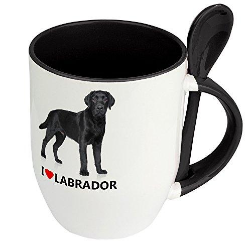 Hundetasse Labrador - Löffel-Tasse mit Hundebild Labrador - Becher, Kaffeetasse, Kaffeebecher, Mug - Schwarz