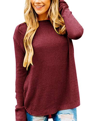 MEROKEETY Women's Long Sleeve Oversized Crew Neck Solid Color Knit Pullover Sweater Tops Burgundy
