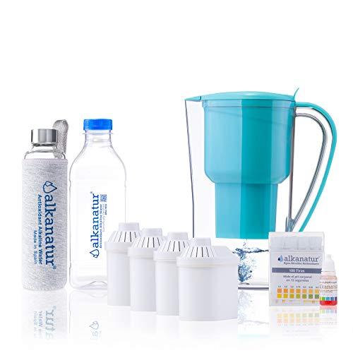 Alkanatur - Set per depurare, alcalinizzare e ionizzare l'acqua, con bottiglia in vetro borosilicato, pH fino a 9,5, Orp - 700 mV, privo di bisfenolo A, durata filtro 400 l, fabbricato in Spagna