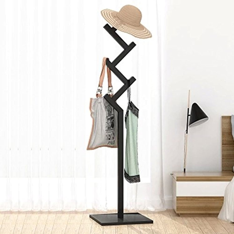 ZJ-Coat rack Coat Rack Bedroom Coat Rack Simple Solid Wood Hanger Individual Coat Rack High 163cm && (color   Black)