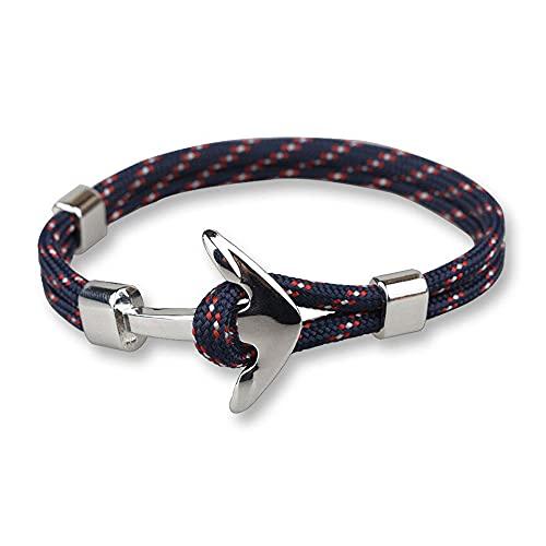 Pulsera para hombre con cordón azul oscuro y ancla marina Malaga