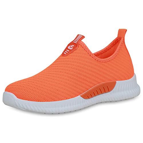 SCARPE VITA Damen Sportschuhe Slip On Sneaker Fitness Schuhe Strick Gym Laufschuhe 191540 Neon Orange 36