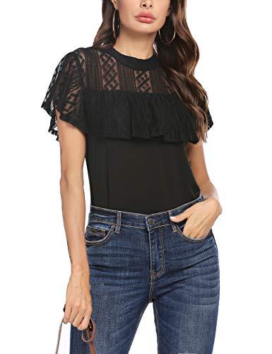 Unibelle Damen Bluse Chiffon Tunika O-Ausschnitt T Shirt Loose Spitzen Oberteil Schwarz Mesh Tops mit Rüschenärmel