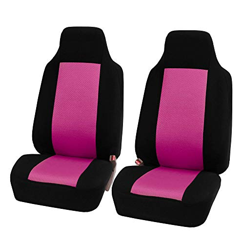 FH Group FB102PINK102-AVC FB102PINK102 Classic Cloth Pair Set Seat Covers Pink/Black-Fit Most Car, Truck,…