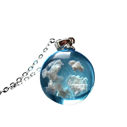 nlgzklsh Collar con colgante de bola redonda de resina transparente para mujer con diseño de luna azul cielo blanco