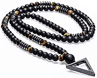 Hématite Triangle Collier Pendentif Noir Tigre Pierre Perles Hommes Fashion Colliers