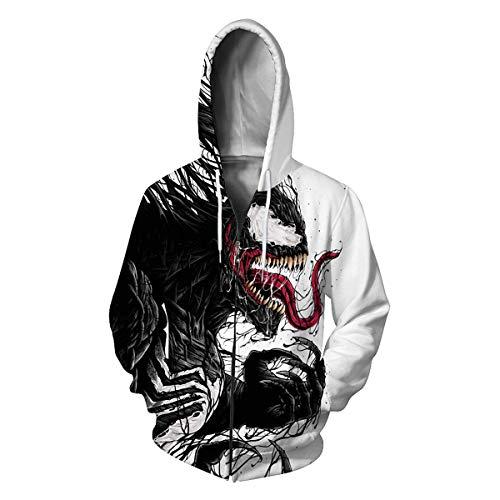 Leezeshaw Unisex Herren 3D Spider-Man-Druck Reißverschluss Pullover Hoodies Superhelden Gemusterte Sweatshirts Jacke mit Taschen S-5XL Gr. XL, Venom
