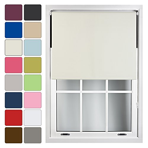FURNISHED Blackout Roller Blind Made to Measure 14 Sizes 16 Colours Cream Beige Up To 60cm