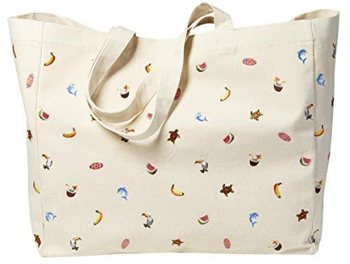 Sowel® Umhängetasche für Damen, Shopper, Strandtasche, bestickt, Natur Baumwolle Canvas, 50 x 20 x 40 cm (LxBxH)