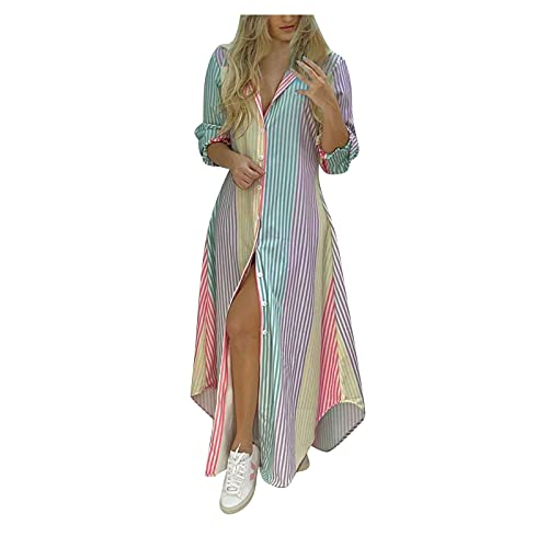 Dasongff Robe de plage pour femme - Robe maxi - Col en V - Lacets - Robe d'été élégante - Décontractée - Robe de cocktail - Robe d'été