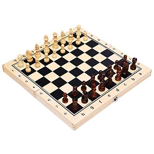 Juego de ajedrez de madera magnética Tablero de ajedrez plegable Cheques de ajedrez hecho a mano Piezas de ajedrez Inteligencia Trainer interactivo para niños adultos 29x29x2.5cm ajedrez damas