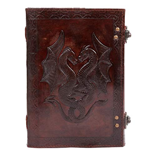 Handmade Vintage Antique Looking Double Dragon Genuine Leather Bound Journal Diary Notebook Travel Scrap Book Photo album Sketchbook, Write Sketch Gift for Men Women Gift (7x10)