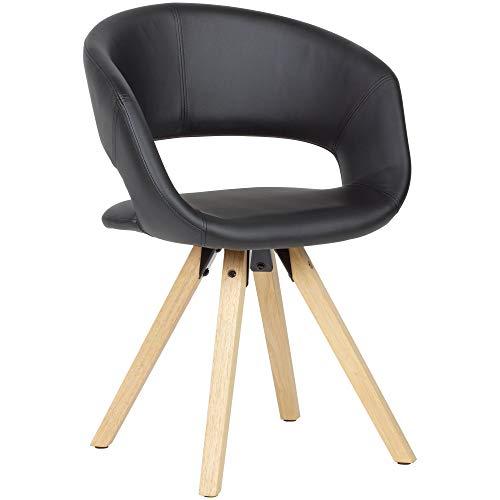 FineBuy Esszimmerstuhl Schwarz Kunstleder/Massivholz Retro | Küchenstuhl mit Lehne | Stuhl mit Holzfüßen | Polsterstuhl Maximalbelastbarkeit 110 kg