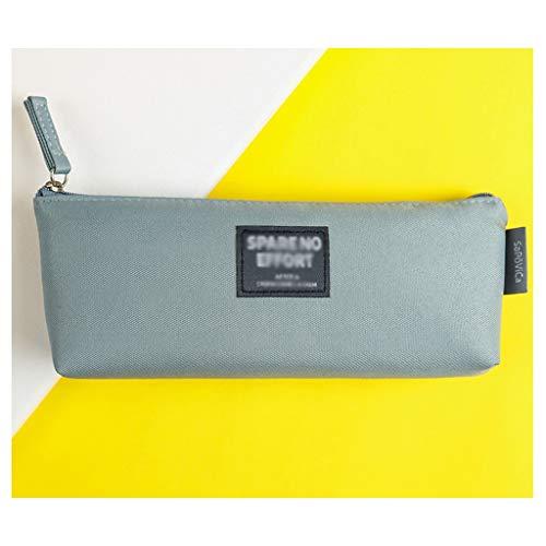 Bolsa de papelería personalizada estilo retro de lona, caja de papelería simple para niños alumnos linda bolsa de lápices (color gris oscuro)