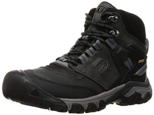 KEEN Men's Ridge Flex Mid Height Waterproof Hiking Boot, Magnet/Black, 10.5