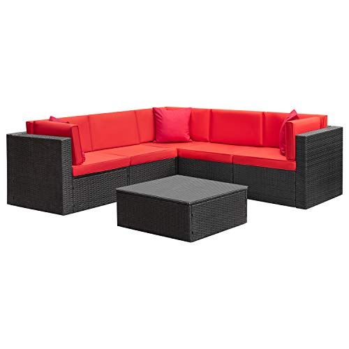 Homall 6 Pieces Patio Furniture Sets Outdoor Sectional Sofa All Weather PE Rattan Patio Conversation Set Manual Wicker Couch with Cushions and Glass Table (Red)