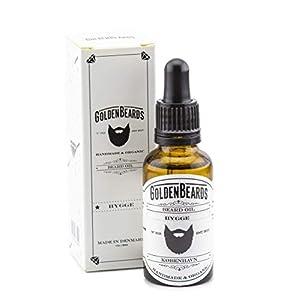 Golden Beards Aceite Orgánico para Barba - HYGGE - 30ml SIN AROMA Golden Beards 100% Orgánico - producto para una barba en crecimiento - 30