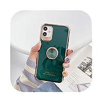 豪華なかわいいメッキシリコンリングブラケット電話ケースiPhone12 11 Pro XS max XR X 8 7Plus超薄型耐衝撃スタンドカバー-Dark Green With Ring-For iPhone 12