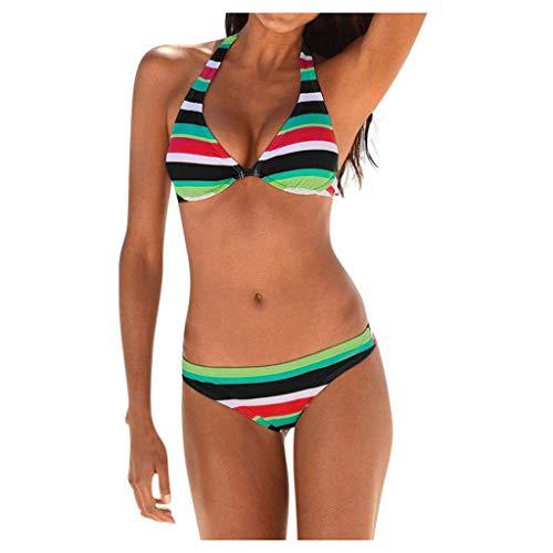 TOPKEAL – Traje de baño para Mujer, Estilo Push up, Acolchado, diseño de Rayas, Bikini, Dos Piezas, Ropa de Playa, triángulo Verde S