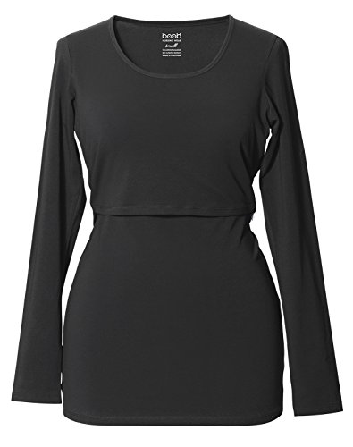 Boob Damen Classic L/s Top Umstands Langarmshirt, Schwarz (Black 8901), 48 (Herstellergröße: X-Large)