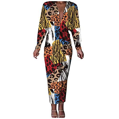 Women Fashion Leopard Button Down Split Dresses,V Neck Long Sleeve Casual Elegant Vintage Y2K Fall Office Maxi Dress