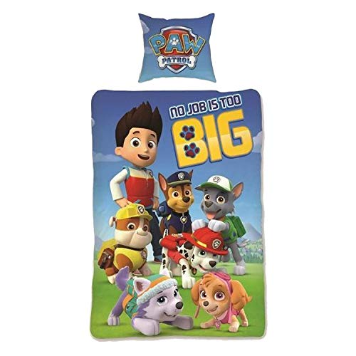 AYMAX S.P.R.L. 2-Piece Paw Patrol Bedding Set - Reversible Duvet Cover 140 x 200 cm + Pillowcase 63 x 63 cm