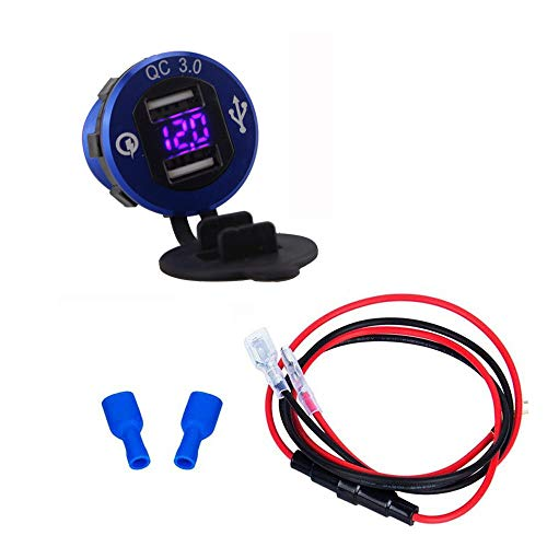 オートバイ シガーライターソケットチャージャー QC3.0 急速充電 USB2ポート 電圧表示可能 配線取付(63cmケーブル)12V/24V両対応 車用増設ソケット バイク/ボートマリン パワーアウトレット (2)