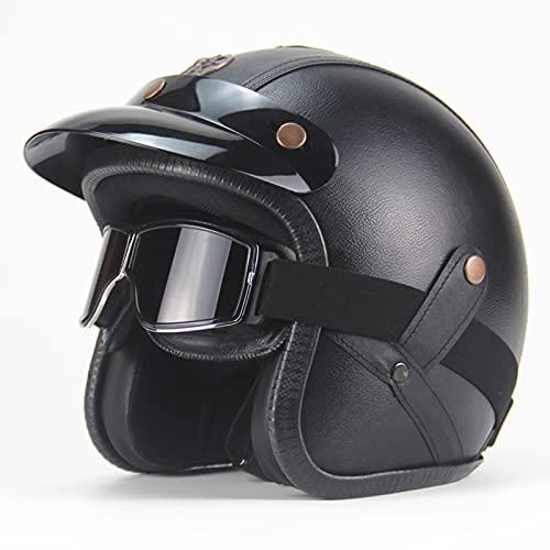 TYYCKJ Casco Moto Abierto Casco Moto Jet Vintage Casco De Motocicleta 3/4 ECE Homologado Casco Medio Retro Media Cara Casco De Protección Cascos para Mujer Hombre con Gafas