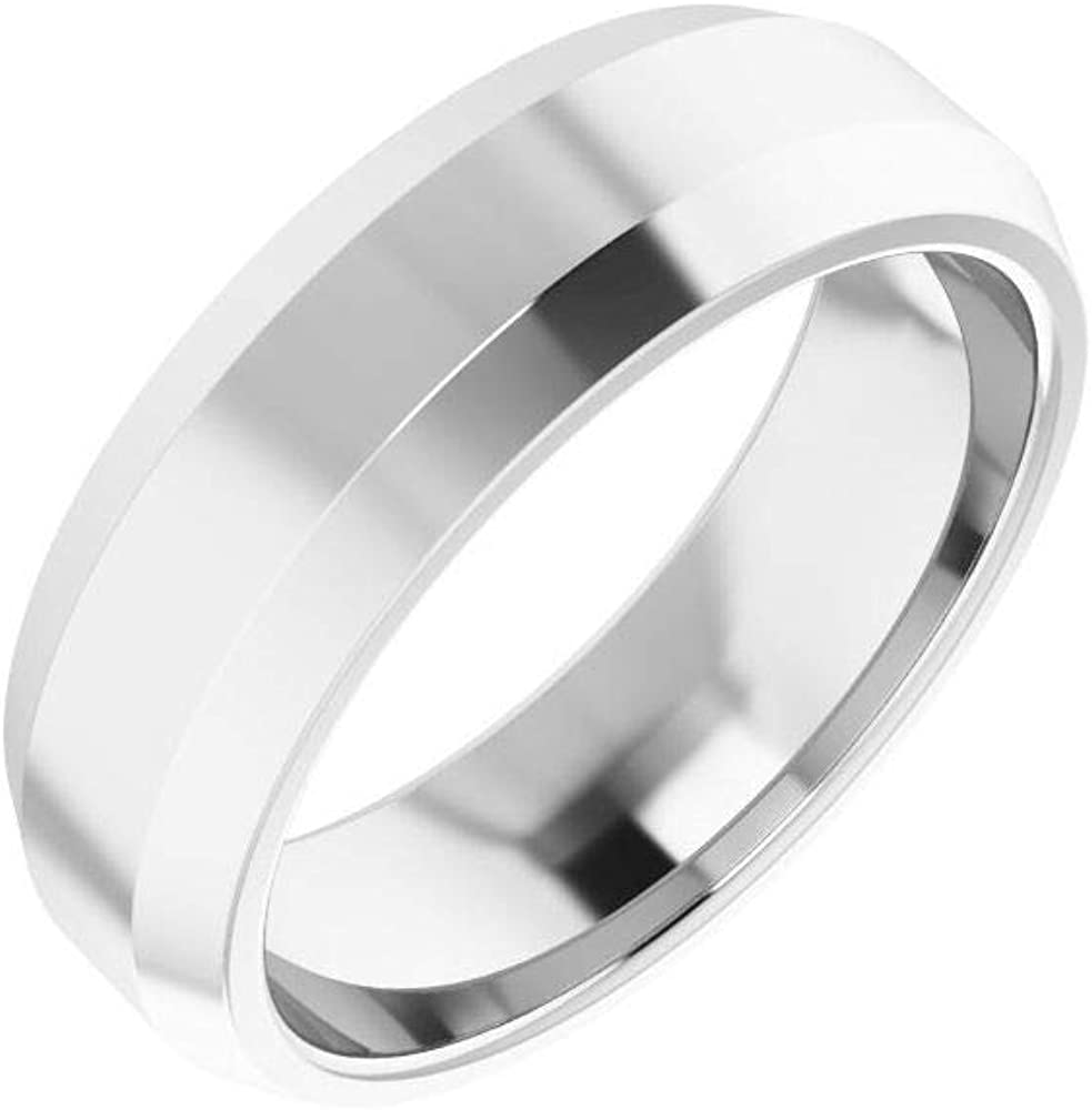 Solid 14k White Gold 6mm Beveled Edge Comfort Fit Wedding Band Ring Mens Heavy Thick Classic Plain Traditional - Size 12.5