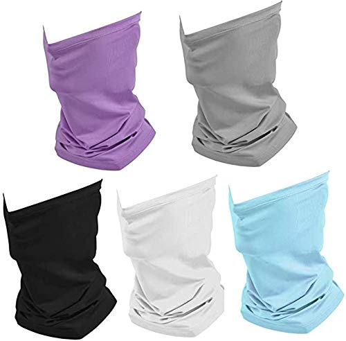 Paquete de 5 deportes al aire libre del pañuelo UV de protección solar, unisex elástico cuello polaina de la mascarilla del escudo transpirable de refrigeración de la cara de la bufanda de la cubierta