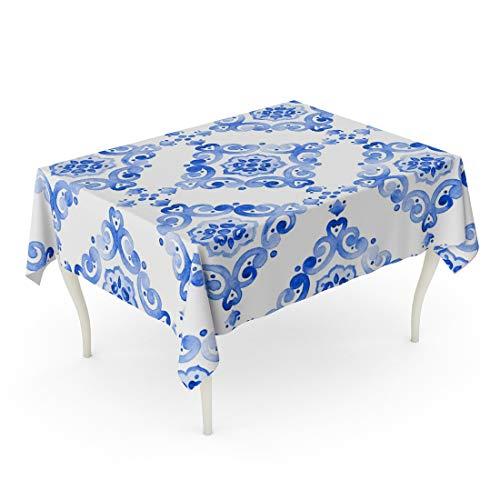 Tarolo Rectangle Tablecloth 60 x 90 Inch Navy Pattern Blue Watercolor Vintage Filigree Cobalt Tableware Dutch Motives Boho Holland Old Table Cloth