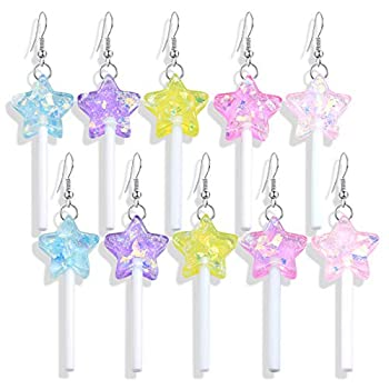 DAMLENG 5 Pairs Funny Cute Resin Colorful Star Lollipop Drop Earring Handmade Candy Simulation Food Dangle Earring for Women Girl Exaggerated Trend Style Jewelry  Yellow+Orange+Blue+Pink+Purple