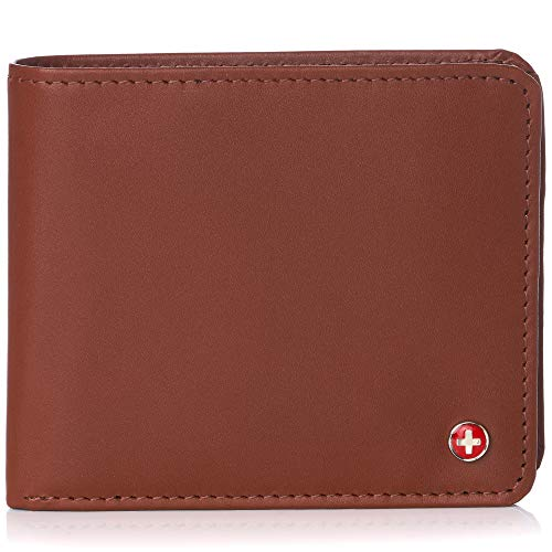 Alpine Swiss RFID Protected Men's Max Coin Pocket Bifold Wallet with Divided Bill Section Camden Collection Smooth Finish Tan