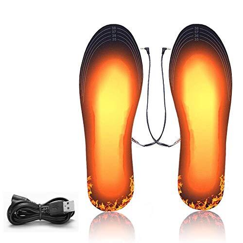 KIPIDA Solette Riscaldate, Invernali Solette Termiche riscaldate con USB Ricaricabile Scaldapiedi Regolabili Elettriche Scaldapiedi Riscaldato Uomo Donna per Sci Pesca Escursionismo,Caccia, Campeggio