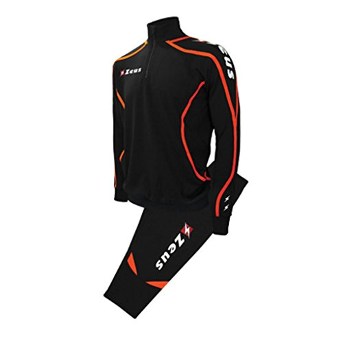 Zeus Herren Sportanzug Trainingsanzüge Running Laufen Training Sport Set Trikot Shirt Shorts Hosen Tuta VIKY SCHWARZ ORANGE (XXL)