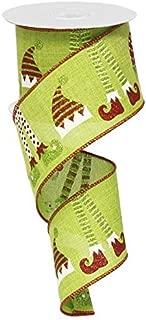 Elf Hats & Legs Christmas Wired Edge Ribbon - 2.5 Inches x 10 Yards (Fresh Green)