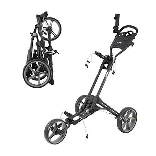 KVV 3 Wheel Foldable/Collapsible Golf Push Cart-with Foot Brake-One Step to Open and Close