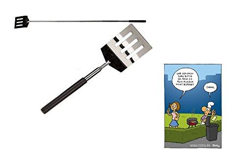 Ausziehbarer Grill & Pfannenwender aus Edelstahl & Postkarte