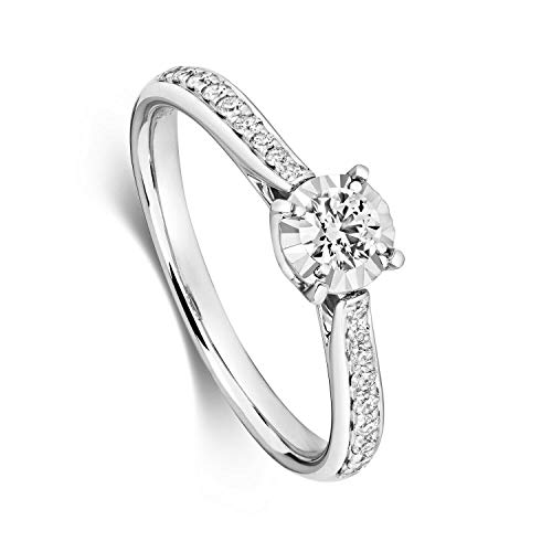 Diamond Solitaire Ring White Gold Illusion Set 0.36ctw Certificate Size H - Z - Size: S
