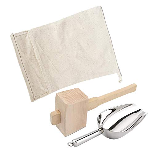 Mazo de hielo y bolsa de mezcla de algodón, trituradora de hielo manual juego de mazo de hielo triturado para hielo triturado para barra de cocina