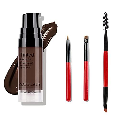 5 Pcs Waterproof Eyebrow Gel Makeup Eye Brow Wax,Lasting 48 Hours Tint Cream,Smudge-proof Liquid Eyebrow Makeup Natural Color Eyebrow Cream Makeup Kit for Women (Brunette)